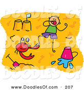 Vector Clipart of a Childs Sketch of a Boy and a Red Crab on a Beach by Prawny