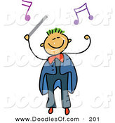 Vector Clipart of a Childs Sketch of a Boy Conductor with Music Notes by Prawny