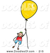 Vector Clipart of a Childs Sketch of a Boy Floating Away with a Yellow Balloon by Prawny