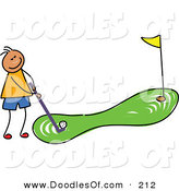 Vector Clipart of a Childs Sketch of a Boy Going Golfing by Prawny