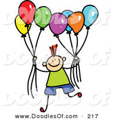 Vector Clipart of a Childs Sketch of a Boy Holding a Group of Colorful Balloons by Prawny