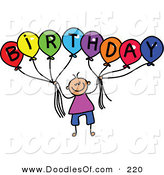 Vector Clipart of a Childs Sketch of a Boy Holding Balloons Spelling Birthday for a Party by Prawny