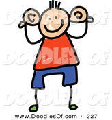 Vector Clipart of a Childs Sketch of a Boy Holding His Big Ears by Prawny