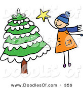 Vector Clipart of a Childs Sketch of a Boy Jumping to Put a Star on a Tall Christmas Tree by Prawny