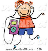 Vector Clipart of a Child's Sketch of a Boy Listening to an Ipod by Prawny