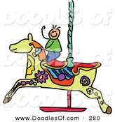 Vector Clipart of a Childs Sketch of a Boy on a Carousel Horse on White by Prawny