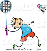 Vector Clipart of a Childs Sketch of a Boy Playing Badminton on White by Prawny