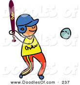 Vector Clipart of a Childs Sketch of a Boy Playing Baseball on the Field by Prawny