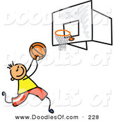 Vector Clipart of a Childs Sketch of a Boy Playing Basketball on a Court by Prawny