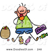 Vector Clipart of a Childs Sketch of a Boy Sitting Eating Candy by Prawny