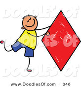 Vector Clipart of a Childs Sketch of a Boy with a Big Red Kite by Prawny