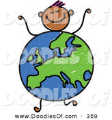 Vector Clipart of a Childs Sketch of a Boy with a Globe Body Centered on Europe by Prawny