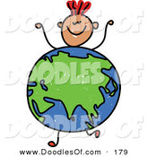 Vector Clipart of a Childs Sketch of a Boy with a Globe Featuring Asia for a Body by Prawny