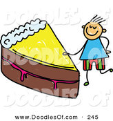 Vector Clipart of a Childs Sketch of a Boy with a Slice of Chocolate Cake by Prawny