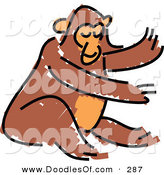 Vector Clipart of a Childs Sketch of a Brown Monkey on White by Prawny