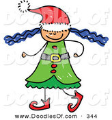 Vector Clipart of a Childs Sketch of a Christmas Elf Girl with Wild Hair by Prawny
