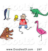 Vector Clipart of a Childs Sketch of a Digital Set of Zoo Animals on White by Prawny