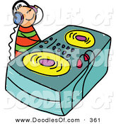 Vector Clipart of a Childs Sketch of a DJ Playing Music by Prawny