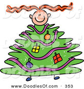 Vector Clipart of a Childs Sketch of a Girl Climbing Within a Christmas Tree Body by Prawny