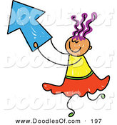 Vector Clipart of a Childs Sketch of a Girl Playing with a Blue Arrow by Prawny