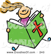 Vector Clipart of a Childs Sketch of a Girl Reading from a Bible by Prawny