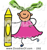 Vector Clipart of a Childs Sketch of a Girl with a Crayon on White by Prawny