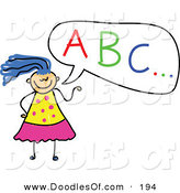 Vector Clipart of a Childs Sketch of a Girl with ABC in a Speech Bubble by Prawny