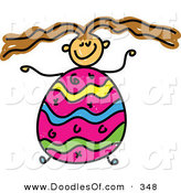 Vector Clipart of a Childs Sketch of a Girl with an Easter Egg Body and Crazy Hair by Prawny
