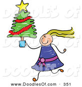 Vector Clipart of a Childs Sketch of a Girl with Crazy Hair Carrying a Small Christmas Tree by Prawny