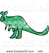 Vector Clipart of a Childs Sketch of a Green Kangaroo on White by Prawny