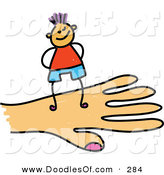 Vector Clipart of a Childs Sketch of a Grinning Boy on a Hand by Prawny