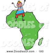Vector Clipart of a Childs Sketch of a Happy African Boy on the African Continent by Prawny