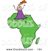 Vector Clipart of a Childs Sketch of a Happy African Girl with Orange Hair on Africa by Prawny