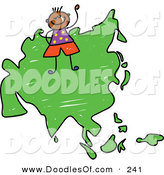 Vector Clipart of a Childs Sketch of a Happy Asian Boy on a Map of Asia on White by Prawny