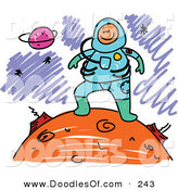 Vector Clipart of a Childs Sketch of a Happy Astronaut on a Planet by Prawny