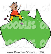 Vector Clipart of a Childs Sketch of a Happy Australian Boy on a Map of Australia by Prawny