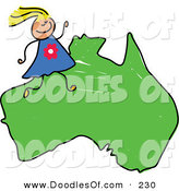 Vector Clipart of a Childs Sketch of a Happy Australian Girl on a Map of Australia by Prawny