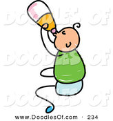 Vector Clipart of a Childs Sketch of a Happy Baby Boy Drinking from a Bottle by Prawny