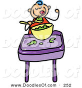 Vector Clipart of a Childs Sketch of a Happy Baby Boy Eating Food by Prawny