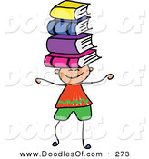 Vector Clipart of a Childs Sketch of a Happy Boy Balancing Books on His Head by Prawny