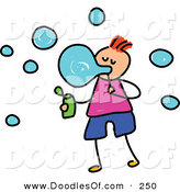 Vector Clipart of a Childs Sketch of a Happy Boy Blowing Bubbles by Prawny