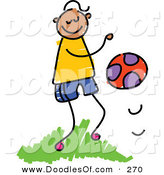 Vector Clipart of a Childs Sketch of a Happy Boy Bouncing a Ball by Prawny
