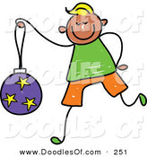 Vector Clipart of a Childs Sketch of a Happy Boy Carrying a Christmas Ball by Prawny