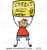 Vector Clipart of a Childs Sketch of a Happy Boy Carrying a Credit Card by Prawny