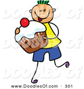 Vector Clipart of a Childs Sketch of a Happy Boy Carrying a Cupcake by Prawny