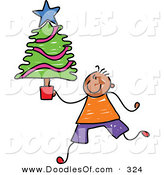 Vector Clipart of a Childs Sketch of a Happy Boy Carrying a Small Christmas Tree by Prawny