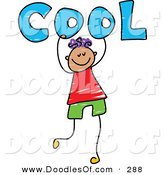 Vector Clipart of a Childs Sketch of a Happy Boy Carrying Cool by Prawny