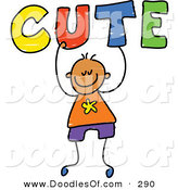 Vector Clipart of a Childs Sketch of a Happy Boy Carrying Cute by Prawny