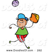 Vector Clipart of a Childs Sketch of a Happy Boy Catching a Baseball by Prawny