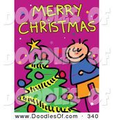 Vector Clipart of a Childs Sketch of a Happy Boy Decorating a Tree Under Merry Christmas by Prawny